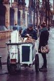 De geroosterde verkoper van de kastanjesstraat in de stad van Sevilla, Spanje royalty-vrije stock foto's