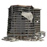 De geruïneerde die Bouw op Witte 3D Illustratie wordt geïsoleerd Stock Fotografie