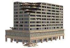 De geruïneerde die Bouw op Witte 3D Illustratie wordt geïsoleerd Stock Foto's