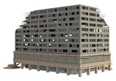 De geruïneerde die Bouw op Witte 3D Illustratie wordt geïsoleerd Stock Foto