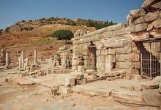 De geruïneerde huizen op de heuvels van stad Ephesus, Turkije, baseerden BC op 10de eeuw Stock Afbeelding