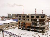 De geruïneerde industriële bouw Stock Fotografie