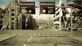 De geruïneerde stadsachtergrond in post 3d apocalypsstijl geeft terug Royalty-vrije Stock Foto's