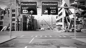 De geruïneerde stadsachtergrond in post 3d apocalypsstijl geeft terug Royalty-vrije Stock Afbeeldingen