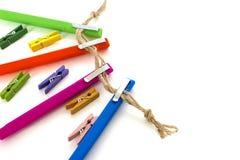 De geschakeerde pennen isoleerden wit Royalty-vrije Stock Foto