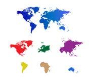De gescheiden continenten van de wereld kaart Stock Foto's