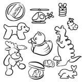 De Geschetste Krabbels van het babyspeelgoed Overzicht Stock Foto