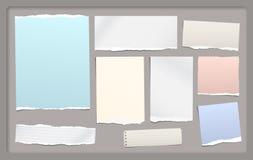 De gescheurde nota, notitieboekjedocument stukken voor tekst plakte op donkergrijze achtergrond met kader Vectorillustratie Royalty-vrije Stock Foto
