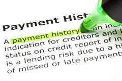 De ?geschiedenis van de betaling? die in groen wordt benadrukt Stock Foto's