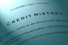 De geschiedenis van het krediet. Stock Fotografie