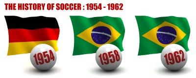 De geschiedenis van Voetbal 1954-1962 stock illustratie