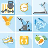 De geschiktheid, gymnastiek, gezonde levensstijl, kleurde, vlakte, illustratie, pictogrammen Royalty-vrije Stock Fotografie