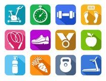 De geschiktheid, gymnastiek, kleurde vlakke pictogrammen Royalty-vrije Stock Foto