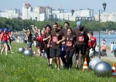 De geschiktheidsfestival van Moskou in het historische park Team het spelen met grote bal op het gebied royalty-vrije stock fotografie