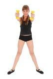 De geschiktheidsmeisje dat van de gymnastiek haar lichaam met domoor opleidt Royalty-vrije Stock Afbeelding
