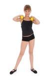 De geschiktheidsmeisje dat van de gymnastiek haar lichaam met domoor opleidt Royalty-vrije Stock Foto
