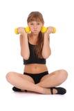 De geschiktheidsmeisje dat van de gymnastiek haar lichaam met domoor opleidt Stock Afbeeldingen