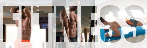 De Geschiktheidsmens die van het motivatieteken in Gymnastiek uitoefenen stock foto
