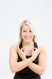 De geschiktheidsvrouw van het blondehaar stock foto's