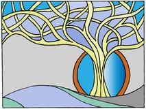De geschilderde boom vertakt zich de winter Stock Afbeelding