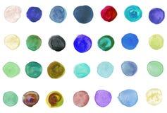 De geschilderde cirkels van de waterverf hand Royalty-vrije Stock Foto's