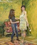 De geschilderde Dame bij de Foto van 2016 plus de Internationale Handel van Expo en van de Conferentie toont Royalty-vrije Stock Afbeelding