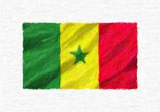 De geschilderde golvende nationale vlag van Senegal hand, geïsoleerde olieverf royalty-vrije illustratie