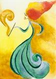 Kleurrijke hand getrokken illustratie van modieuze vrouw Royalty-vrije Stock Afbeelding
