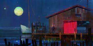 De geschilderde maanbeschenen nacht van de landschapsjachthaven Royalty-vrije Stock Afbeelding