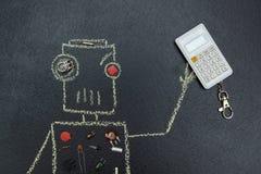 De geschilderde robot met elektrische delen houdt een calculator vector illustratie
