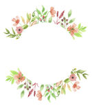 De Geschilderde Slinger van waterverfpoppy flower wreath frame floral Hand Stock Foto