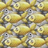 De geschilderde waterverf naadloze achtergrond, vist zwart-wit met gele vissen, groot patroon Stock Afbeeldingen