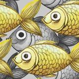 De geschilderde waterverf naadloze achtergrond, vist zwart-wit met gele vissen, groot patroon Stock Afbeelding