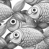 De geschilderde waterverf naadloze achtergrond, vist zwart-witte kleur, groot patroon Stock Foto