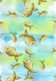 De geschilderde waterverf vertroebelde achtergrond in blauwe en gele tonen met gouden gele grote en kleine vissen Royalty-vrije Stock Afbeelding