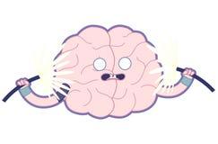 De geschokte hersenen vlakke illustratie, leidt uw hersenen op Royalty-vrije Stock Afbeelding