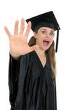 De geschokte vrouw van de graduatiestudent royalty-vrije stock afbeelding