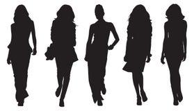 De gesilhouetteerde Achtergrond van Vrouwen Royalty-vrije Stock Foto's