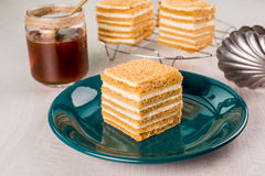 De gesneden Cake van de Honing Royalty-vrije Stock Foto
