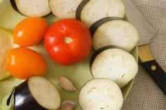 De gesneden hoogste mening van auberginegroenten Royalty-vrije Stock Foto