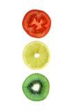 De gesneden kiwi van de tomatencitroen Royalty-vrije Stock Foto's