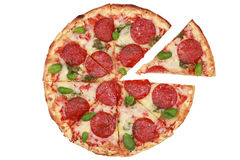 De gesneden Pizza van Pepperonis Royalty-vrije Stock Foto