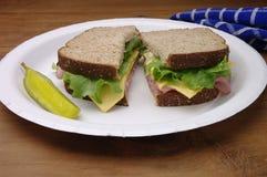 De gesneden Sandwich van de Ham op de Plaat van het Document Royalty-vrije Stock Foto's