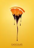 De gesneden sinaasappel dompelde in smeltende donkere chocolade, fruit, het concept van het fonduerecept, transparante, Vectorill vector illustratie