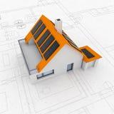De geïsoleerde nieuwe moderne duurzame lay-out van het huisplan Stock Foto