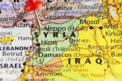 De gespelde kaart van Alepposyrië oorlog Stock Afbeelding