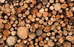 De gestapelde houten logboeken van het besnoeiings ruwe hout Stock Afbeeldingen