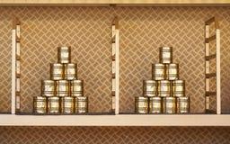 De gestapelde piramide van het tinblik voor kan neerhalenspel bij funfair royalty-vrije stock foto's