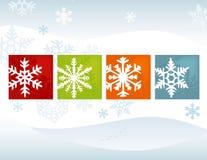 De gestileerde Achtergrond van de Winter van de Sneeuwvlok royalty-vrije illustratie