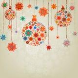 De gestileerde Ballen van Kerstmis, op beige. EPS 8 Royalty-vrije Stock Afbeeldingen